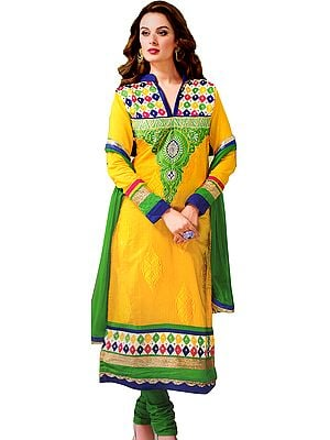 Cyber-Yellow Long Chudidar Kameez Suit with Ari Embroidered Paisleys on Neck with Faux Pearls