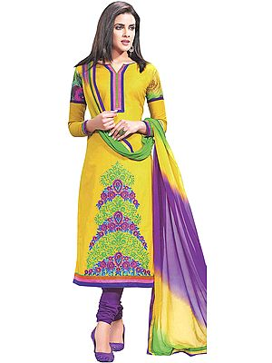 Mimosa-Yellow Chudidar Kameez Suit with Embroidered Flowers and Digital Print