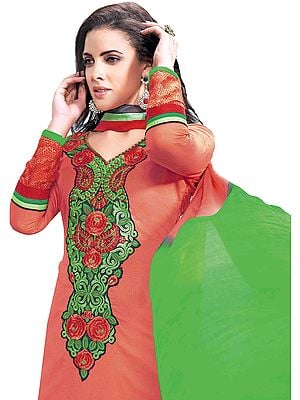 Claret-Red Chudidar Kameez Suit with Floral Embroidered Patch on Neck