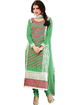 Ultramarine-Green Long Choodidaar Bhagyashree Suit with Thread Embroidered Flowers and Crochet Border