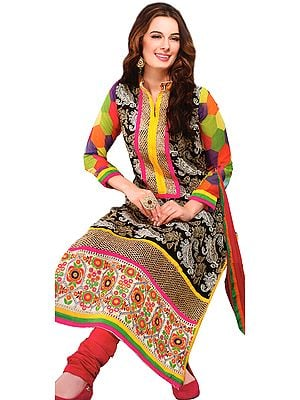Jet-Black Choodidaar Kameez Suit with Thread Embroidery and Mirrors