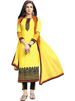 Sunshine Parallel Salwar Suit with Embroidered Border and Digital Print at Back