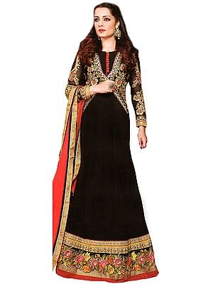 Black Wedding Celina Anarkali Suit with Thread Embroidered Flowers and Wide Parsi Border