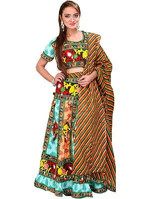 Green and Peach Lehenga Choli from Rajasthan with Embroidered Flowers and Sequins