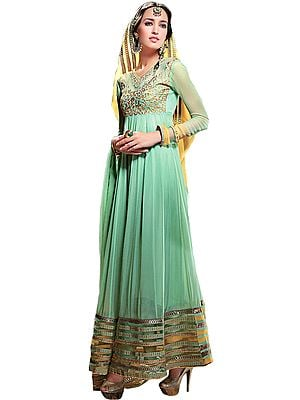 Celadon-Green Bridal Anarkali Suit with Embroidery in Metallic Thread