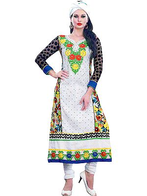 Bright-White Long Chudidar Suit with Embroidered Patch and Printed Flowers at Back