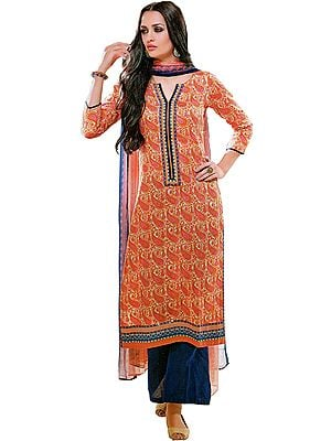 Dusty-Orange and Blue Parallel Salwar Suit with Printed Paisleys and Patch on Neck