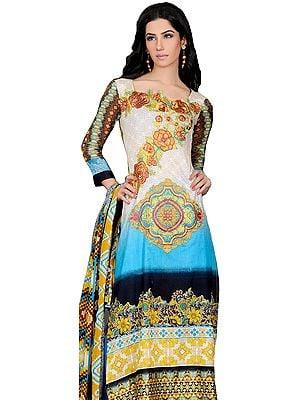 Cyan-Blue Pakistani Salwar Kameez Suit with Floral Embroidered Motifs