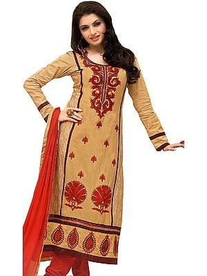 Desert-Mist and Red Long Choodidaar Kameez Suit with Embroidery and Printed Paisleys