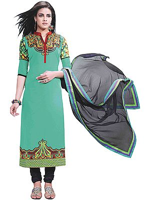 Peacock-Green Chudidar Kameez Suit with Embroidered Paisleys on Neck and Digital Print at Back