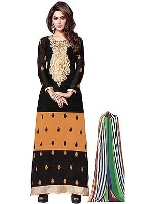 Black and Mustard Designer Long Chudidar Kameez Suit with Bootis and Embroidered Patch on Neck