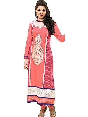 Salmon-Rose Long Chudidar Kameez Suit with Thread-Embroidery and Crochet Border