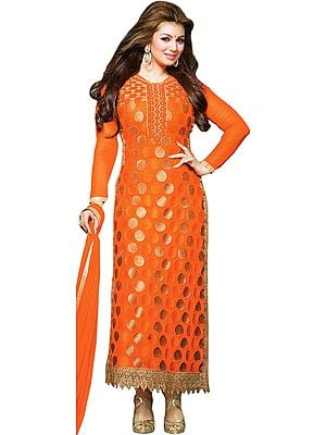 Ayesha Long Kameez Chudidar Suit with Embroidered Bootis and Crochet Border