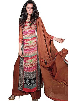 Dark-Brown Long Digital Printed Suit with Wide Salwar