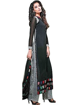 Black and White Long Kameez Suit with Parallel Salwar