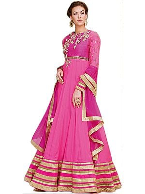 Azalea-Pink Designer Floral Embroidered Long Anarkali Suit with Golden Wide Border
