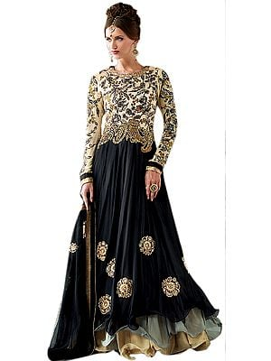 Cream and Black Anarkali Layered Kameez Suit with Floral Embroidery and Crystals