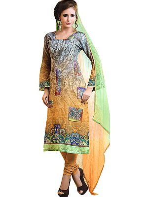 Gray and Yellow Shaded Digital Printed Chudidar Kameez Suit