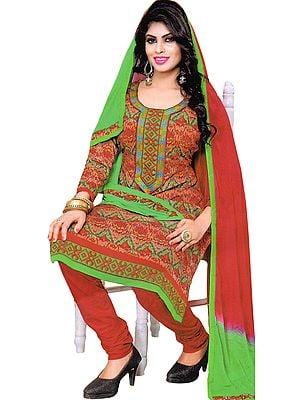 Bittersweet-Red and Green Digital Printed Choodidaar Kameez Suit with Embroidered Patch