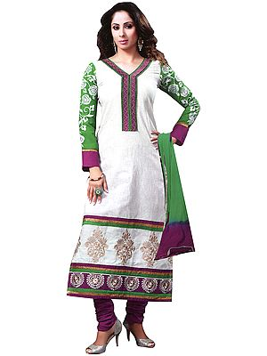 Snow-White Long Chudidar Kameez Suit with Embroidered Patch and Printed Motifs at Back