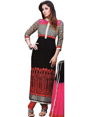 Black and Red Embroidered Chudidar Kameez Suit with Golden Patch on Neck