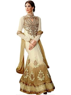 Ivory and Beige Wedding Anarkali Suit with Embroidered Patches in Golden Thread