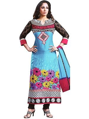 Cyan-Blue and Black Printed Long Chudidar Kameez Suit with Embroidered Patch and Net Sleeves