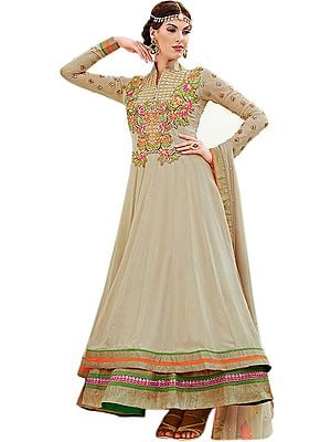 Crème-Brulee Double Layered Anarkali Suit with Zardosi Embroidery in Vibrant Hues