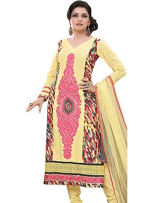 French-Vanilla Long Choodidaar Kameez Suit with Embroidery and Digital Print at Back