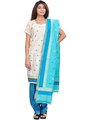 Ivory and Blue Chanderi Salwar Kameez Suit with Woven Bootis