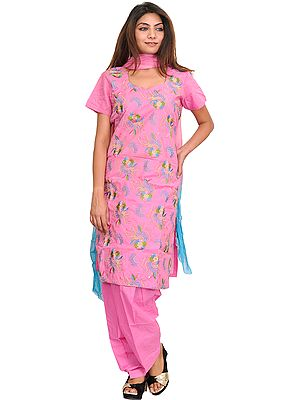 Aurora-Pink Salwar Kameez Suit with Embroidered Flowers and Sequins