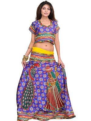Two-Piece Ghagra Choli from Rajasthan with Woven Flowers and  Embroidered Patch