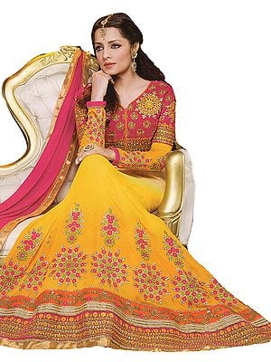 Cyber Yellow Celina Bridal Anarkali Suit with Ari Embroidered Flowers and Wide Border