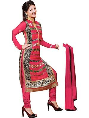 Pink-Flambe Choodidaar Kameez Suit with Embroidered Front/Back Motifs