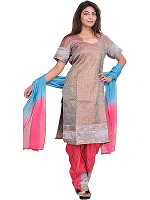 Gray-Maroon Salwar Kameez with Woven Stripes