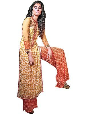 Ivory and Orange Parallel Salwar Suit with Printed Flowers and Crystals on Neck