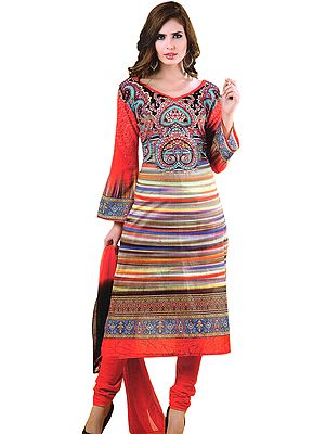 Cayenne-Red Chudidar Kameez Suit with Akbari Print
