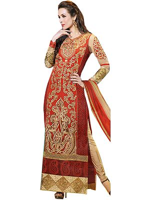 True-Red Malaika Long Choodidaar Kameez Suit with Floral Embroidery and Crystals