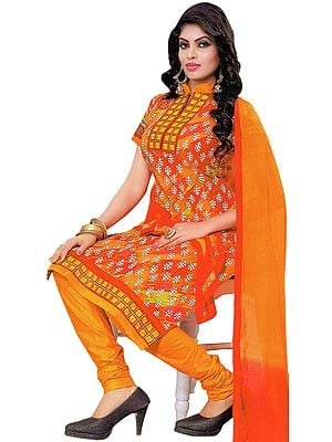 Choodidaar Kameez Suit with Printed Bootis and Embroidered Patch