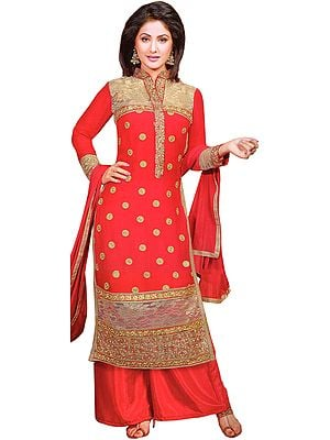 Lollipop-Red Parallel Salwar Suit with Embroidered Bootis and Wide Patch Border