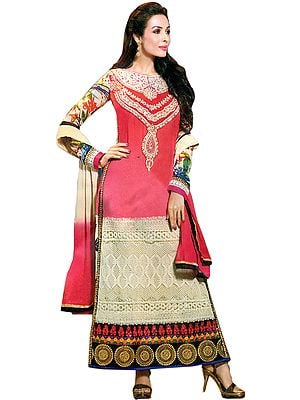 Camellia-Rose and Ivory Malaika Long Chudidar Kameez Suit with Embroidered Patch and Crochet Border