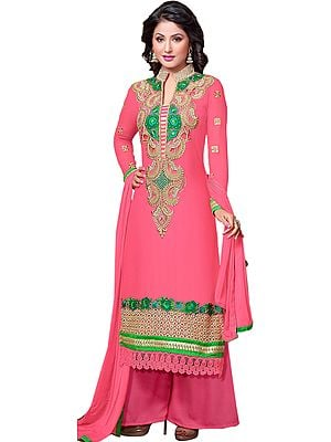 Strawberry-Pink Parallel Salwar Suit with Paisley Patch on Neck and Crochet Border