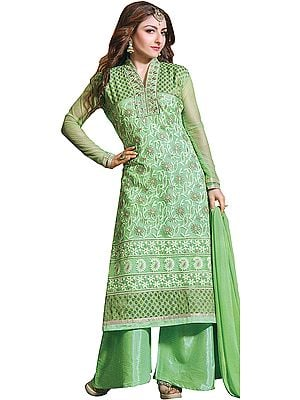 Cabbage-Green Parallel Salwar Suit with Zari Embroidered Flowers