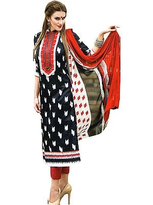 Trouser Salwar Kameez Suit with Ikat Print and Embroidered Patch on Neck