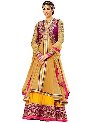 Mustard and Boysenberry Two-Piece Wedding Anarkali Suit with Floral Zari-Embroidery and Emblished Border