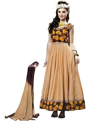 Chocolate and Cream Anarkali Suit with Printed Roses and Gota Border