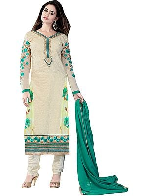 Oyster-White Self Embroidered Long Choodidaar Kameez Suit with Floral Patch Border and Digital-Print at Back