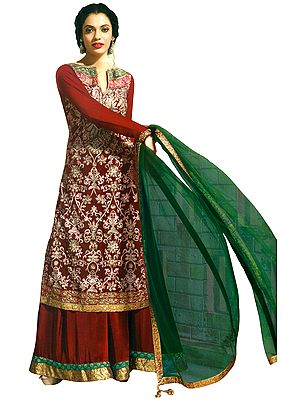 Garnet-Red Embroidered Wedding Sharara Salwar Suit with Sequined Patch Border