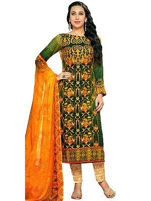 Green and Amber Digital-Printed Salwar Kameez with Embroidered Patch on Sleeves