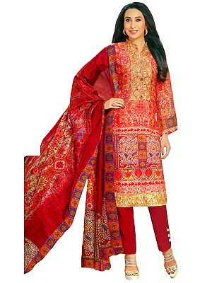 Bittersweet-Red Digital Printed Salwar Suit with Embroidered Patch on Neck and Border
